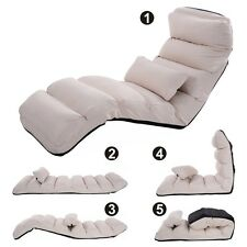 Beige Folding Lazy Sofa Chair Stylish Sofa Couch Beds Lounge Chair W/Pillow New