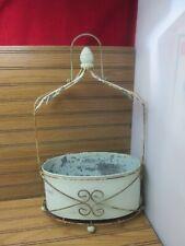 Vintage Tin Metal Wire Pot Planter Basket Leaf Design Footed Handle Rustic Decor