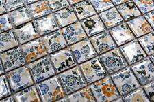 Handmuster Mosaikfliese Retro Vintage Keramik weiß bunt Blumen Fliesenspiegel  .