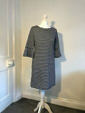 Next Black & White Stripe Dress with Flute Sleeve Size 10 Casual Work Office