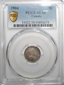 1904 Edward VII 5 Cents - PCGS AU58