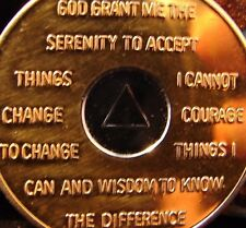 Vintage Gold & Silver Bi Plated Alcoholics Anonymous 10 Year Medallion Coin Chip
