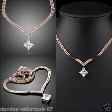 18K Rosegold Kristall Anhänger Halskette Collier Swarovski Element Geschenk 252