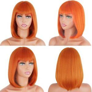 14inch Cosplay wig no lace Fashion Light orange Full Head Heat resistant hair