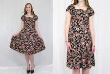Vintage 50s Black Pink Floral Rhinestone Side Zip Retro Midi Cocktail Dress~M
