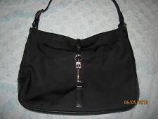 COACH Clip Black Hobo Shoulder Bag Tote Purse Clutch 7443 Cloth Leather Trim EUC