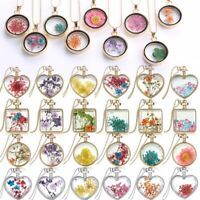 Chic Natural Dried Real Rose Flower Pendant Necklace Round Heart Glass Locket