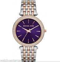 NEW Michael Kors MK3353 Darcy Two Tone Rose Gold Purple Dial Ladies Watch