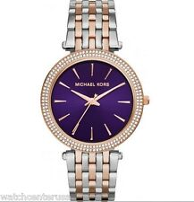NEW Michael Kors MK3353 Darcy Two Tone Rose & Silver w/ Purple Face
