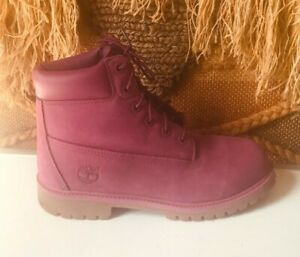 Timberland A15WB Purple Leather Lace-Up Casual Ankle Boots sz 6