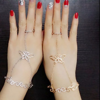 Fashion Women Crystal Butterfly Hand Harness Finger Ring Bangle Chain Bracelet