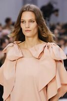 Chloe NEW Bow Knot Cold Shoulder Fluted 1/2 Sleeves Pansy Pink Poplin Dress 36