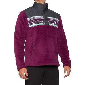 Men's Spyder Wyre Half Snap Pullover Shirt Sweater Jacket Raisin Purple Size XL