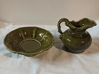 Vintage McCoy USA Pottery Pitcher And Wash Bowl Basin Set Green
