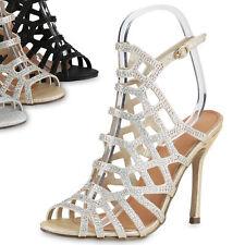 High Heels Damen Strass Sandaletten Glitzer Stilettos Party 814356 Top