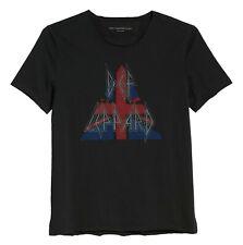 John Varvatos Men's Def Leppard Raw Edge Applique Graphic Crew T-Shirt Black S