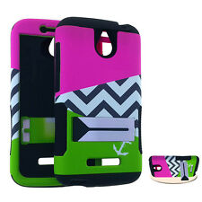 HTC Desire 510 512 - HARD&SOFT RUBBER HYBRID ARMOR CASE COVER PINK GREEN CHEVRON