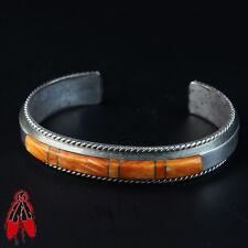 Orange spiny oyster shell inlay bracelet sterling silver Vintage Native pawn