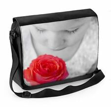 Child Smelling a Rose Laptop Messenger Bag - Roses Floral Flowers