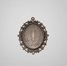 Large picture setting oval pendant frame for 30 x 40 mm cabochon copper tone