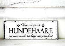 Shabby Schild Vintage HUNDEHAARE Nostalgie weiß Tafel DEKOSCHILD