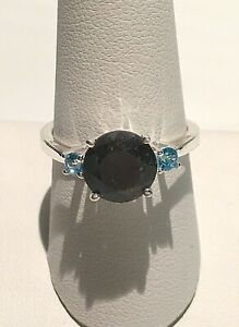 NWT NATURAL SILVER SAPPHIRE, SKY BLUE TOPAZ RING SIZE 9 (3.70 CTW) 925 SS
