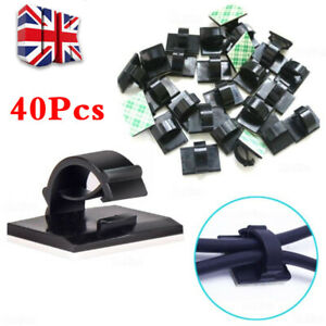 40PCS Mini Self Adhesive Car Wire Clips Rectangle Tie Sticker Cable Cord Holder