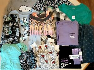 Lot of 14 Girl's Clothes Size 14/-16 Fall Spring Tops Bottoms Pants Justice +