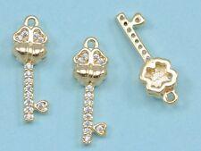 CZ Crystal Micro Pave Gold Plated 4-leaf Clover Key Charm Pendant  for Bracelet