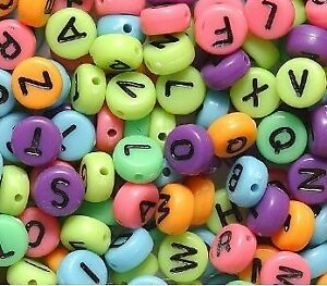 100 Plastic ABC Round Beads Colorful 7 x 4 mm New!