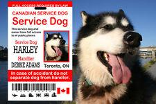 Canadian Service Dog ID Card, Service Dog Id Tag, Card for Canada Service Dog
