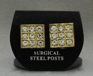 "new Clear CZ Cubic Zirconia in Metal Grid Stud Post Earrings 1/2"" Gold"