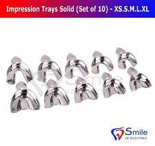 Dental Impression Trays Rim Lock Non-Perforated Set of 10 XS.S.M.LXL Upper/Lower