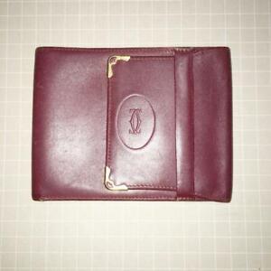 CARTIER Vintage Wallet Card/Passport Holder Bordeaux Leather