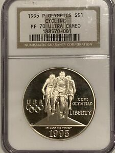 1995-P NGC PF70 Olympics Cycling Commemorative Proof Silver Dollar Coin