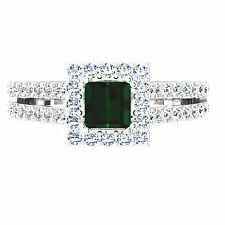 Natural 1.57 Ct Round Diamond Emerald Ring 14K White Gold Gemstone Ring Size N P