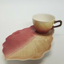 Royal Winton Majolica Leaf Pattern Tennis Set, Tea Cup & Saucer Plate Red Yellow