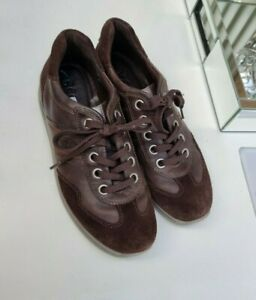 Women's Ecco Brown Real Leather Lace Up Flat Trainers Sneakers Shoes 5 38