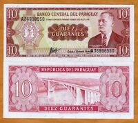 Paraguay, 10 Guaranies, L. 1952, Pick 196b, A-Prefix, UNC