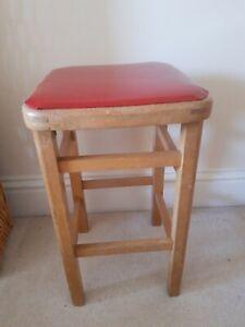 Vintage Retro Kitchen Stool Wood with Red Vinyl 50s 60s