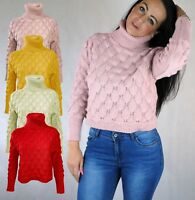 WOMENS SHORT POLO NECK JUMPER W BOBBLE BUMPY DETAIL LONG SLEEVE PINK RED 8 - 14