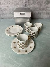 Centurion Collection 4x Christmas Tree Espresso Cups & Saucers Gold Leaf Trees