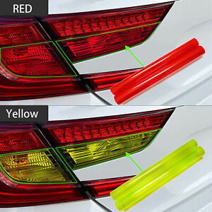 "12*48"" Lucifer Yellow + Red Headlight Taillight Protector Tint Vinyl Film Decal"