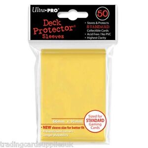 50 Ultra Pro Trading Card Sleeves - Standard Yellow Deck Protectors.