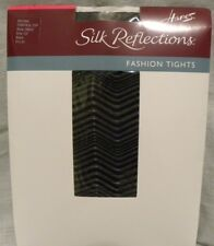 Hanes Fashion Zig Zag Pantyhose Control Top Size CD Medium Black (*4)