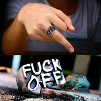 Women Men Stainless Steel FUCK-OFF Cool Gothic Punk Biker Finger Rings Jewelry
