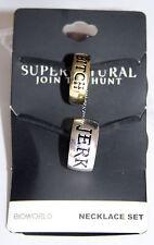 Supernatural Bitch Jerk Ring Necklace Pendant Set BFF Bestie Best Friends 2 PK