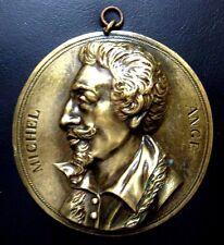 Italian Renaissance Sculptor Painter Architect Michelangelo Bronze Medal / N122