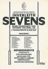INVERLEITH  EDINBURGH NORTHERNRUGBY SEVENS PROG 5 Apr 1989 Ferranti, Dalkeith