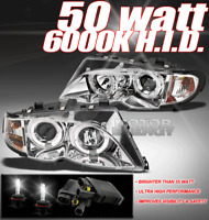 02-05 BMW E46 3 SERIES 4DR HALO PROJECTOR HEAD LIGHT+HID 50W 6K LEFT+RIGHT 03 04